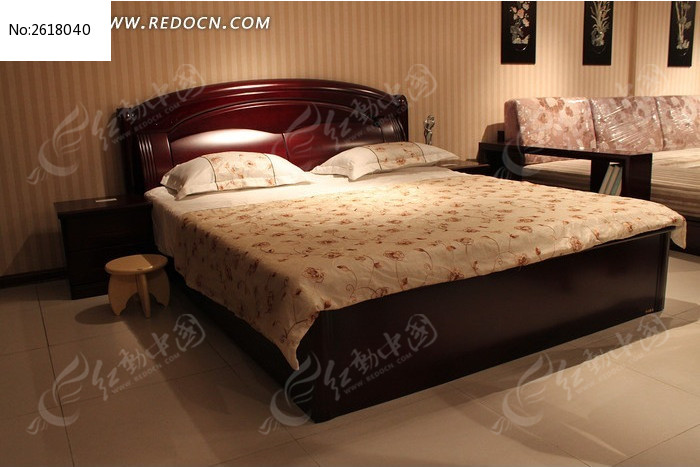 红木双人大床图片