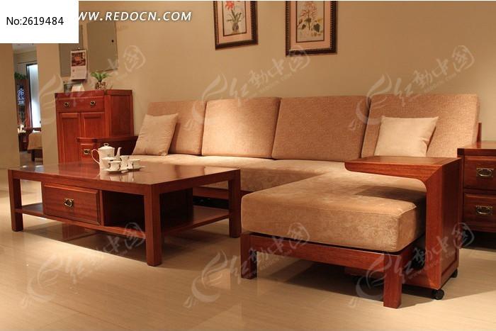 客厅实木布艺沙发图片