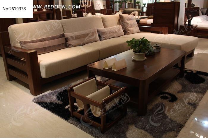 客廳實木布藝沙發茶幾組合圖片