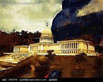 白宫建筑油画