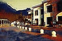 别墅建筑油画