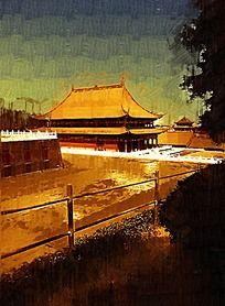 宫廷建筑油画