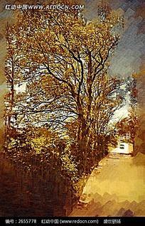 路边风景油画