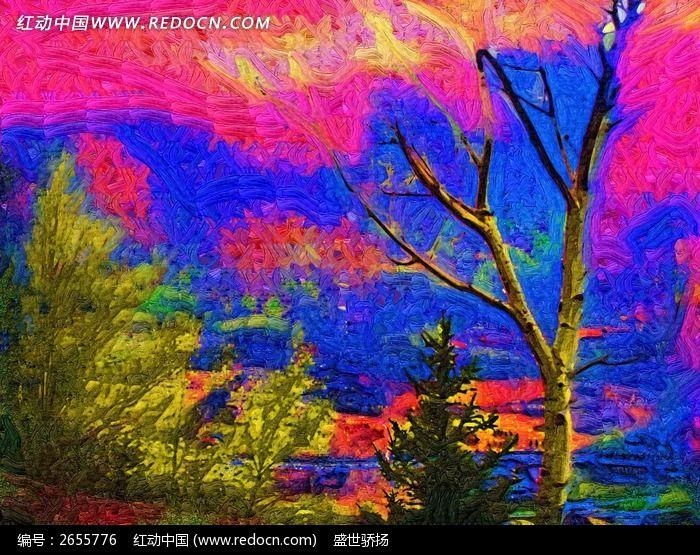 餐厅装饰画抽象色彩画水粉画美术