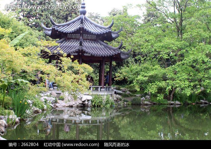 园林水边景观手绘效果图
