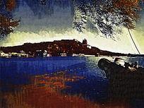 北京怀柔风景油画