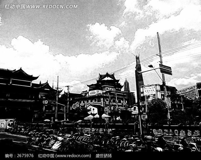 黑白风景建筑手绘