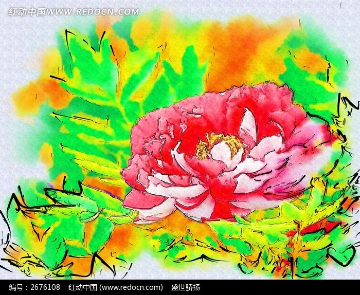 唯美红色水彩花卉矢量素材_花草树木_红动手机版