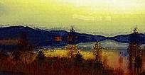 山脉风景油画