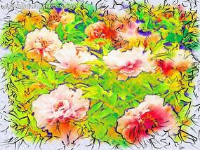 水彩花卉画