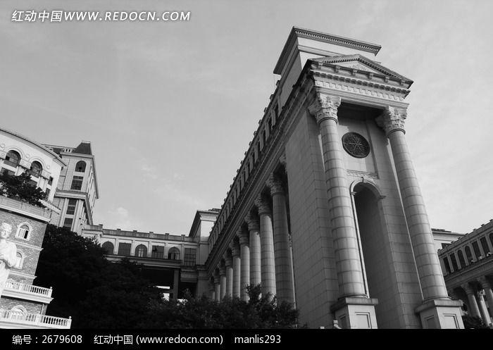 欧式罗马柱高拱门建筑图片
