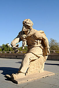 元大都遗址的男子雕像