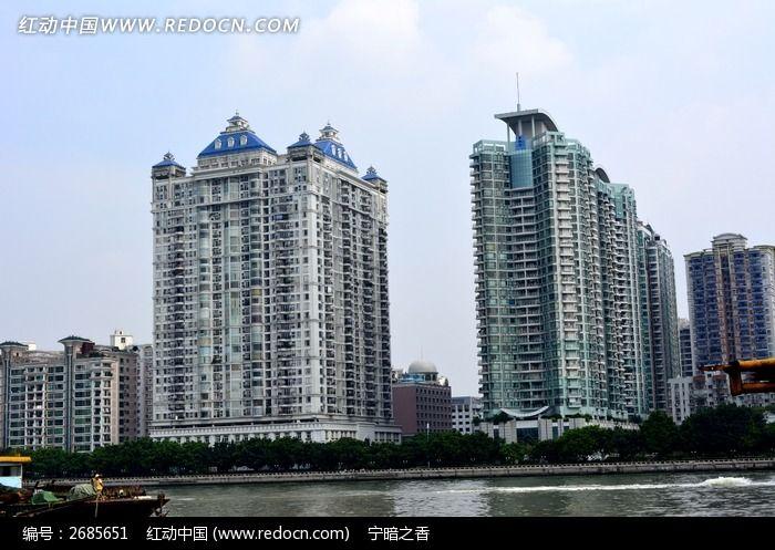 珠江边欧式风格楼顶大厦建筑图片素材下载(编号:)