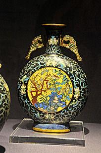 铜胎掐丝珐琅花卉扁瓶
