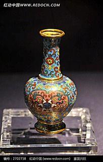 铜胎掐丝珐琅开光缠枝花卉瓶