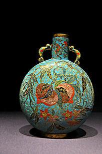 铜胎掐丝珐琅石榴寿桃纹抱月瓶