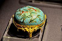 铜胎掐丝珐琅桃形盖盒