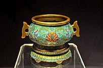铜胎掐丝珐琅香炉及座