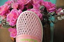 粉色网布鞋鞋面