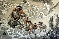 大禹治水场景绘画