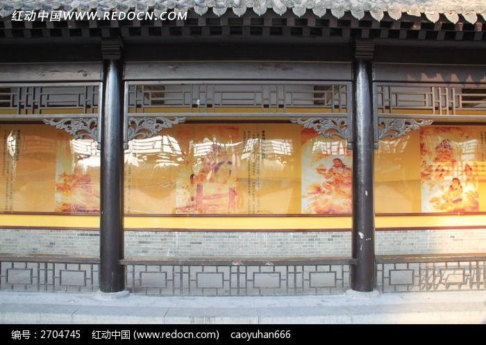 古代凉亭柱子窗花