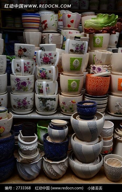各式各样的陶瓷花盆图片