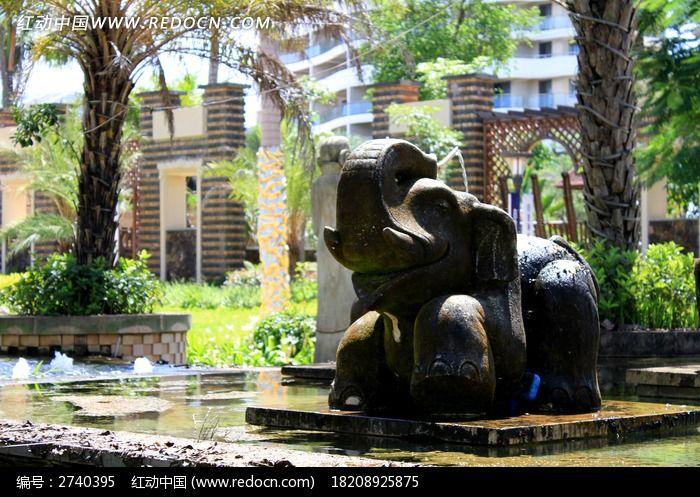 饭店上的肉干大象甏水池石雕设计装修图片