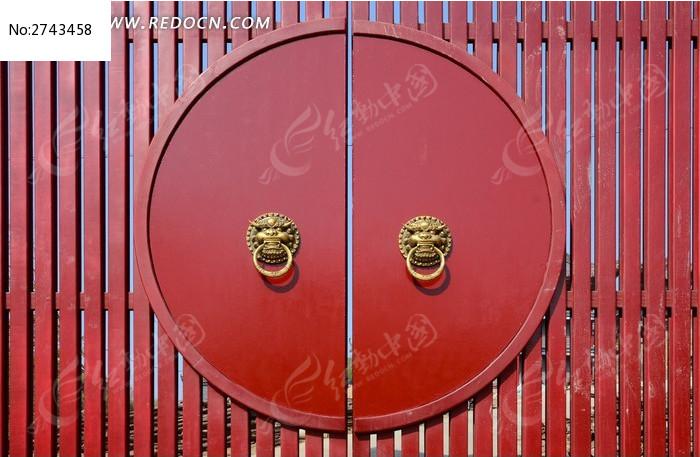 红色的月亮门图片_建筑摄影图片