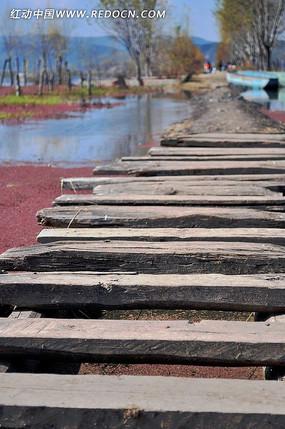 云南拉市海中的木板桥