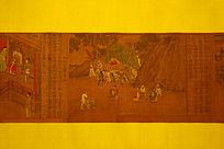 中国古代绘画画卷局部出游