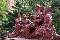 雷锋与少先队员雕塑