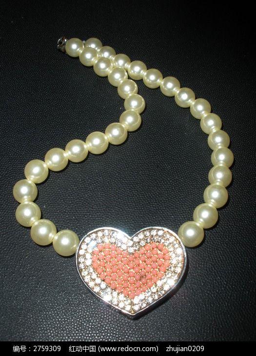 心型珍珠项链图片