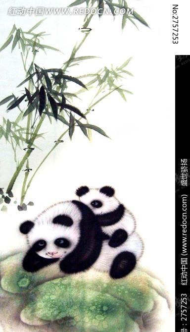 熊猫水墨画图片
