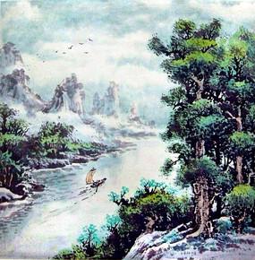 水墨风景瀑布迎客松国画玄关图片
