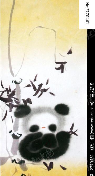 水墨熊猫装饰画图片