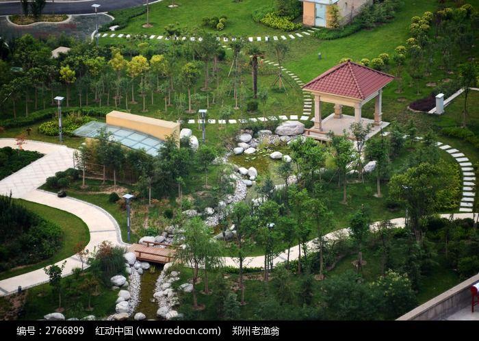 住宅小区内的绿化风景高清图片下载 红动网