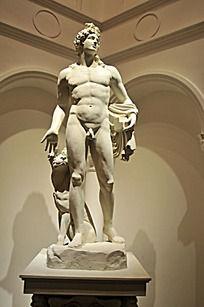 欧式雕像男人与狗