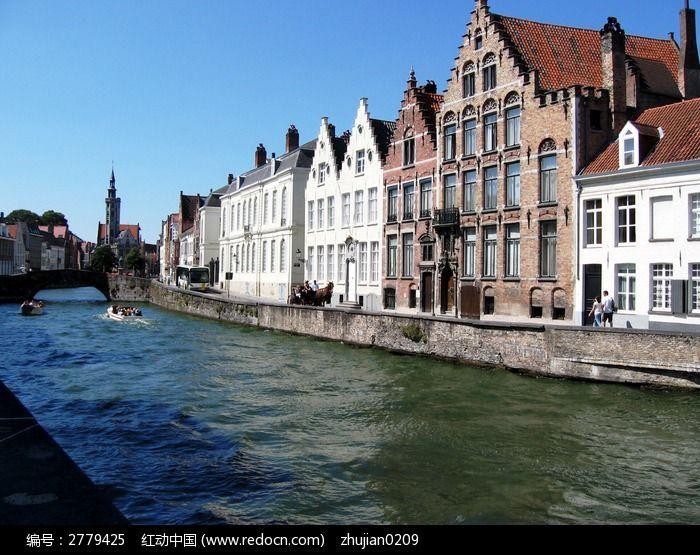 河畔欧式建筑风光摄影唯美图片&