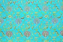 淡蓝色底 金色龙凤花纹  传统高贵花纹