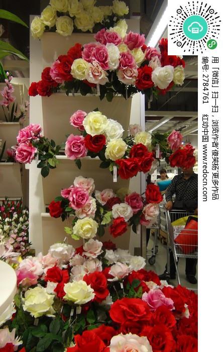 各种颜色的假玫瑰花
