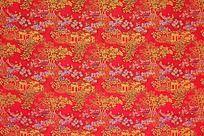 红色底纹 树木 亭台楼阁  船 纹理