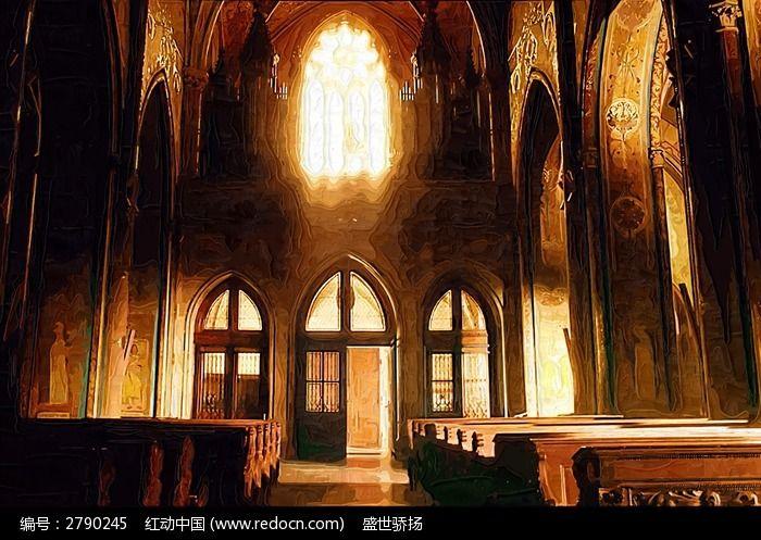 教堂油画图片,高清大图