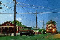 交通工具油画