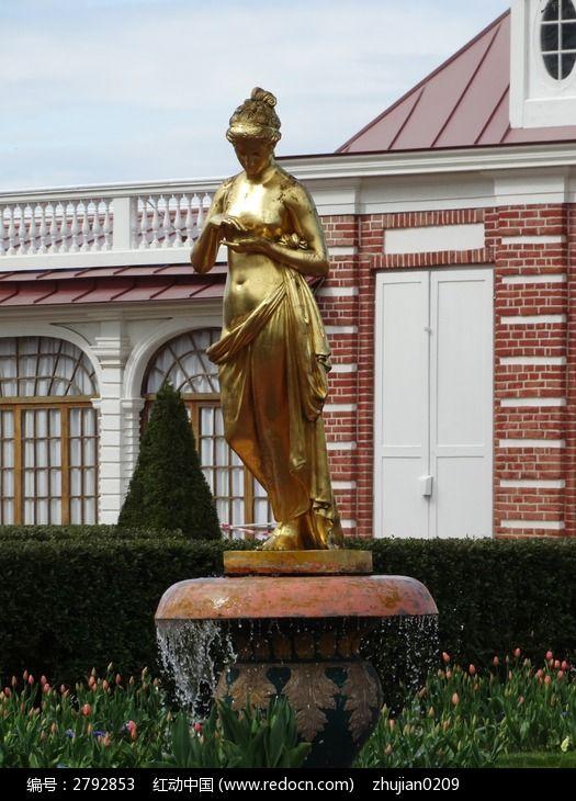 欧式建筑金色人像雕塑图片