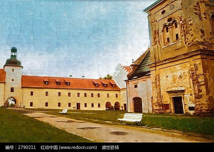 欧式建筑油画图片,高清大图