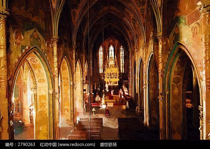 欧式教堂油画图片