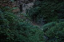 石崖边的小溪流水