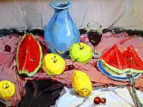 水粉画水果与蓝色瓷瓶