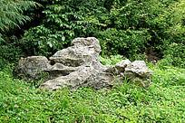 绿色草地中奇形怪状的山石