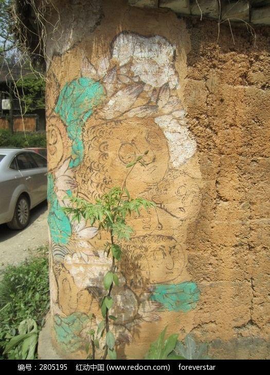 墙角处的手绘图片,高清大图_乡村小镇素材